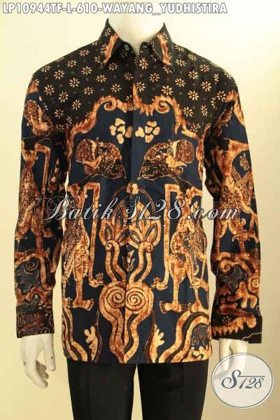 Kemeja Batik Pria Lengan Panjang Premium Desain Khas Pejabat, Busana Batik Wayang Motif Yudhistira Proses Tulis Pakai Lapisan Furing Lebih Exclusive Dan Istimewa Hanya 610K