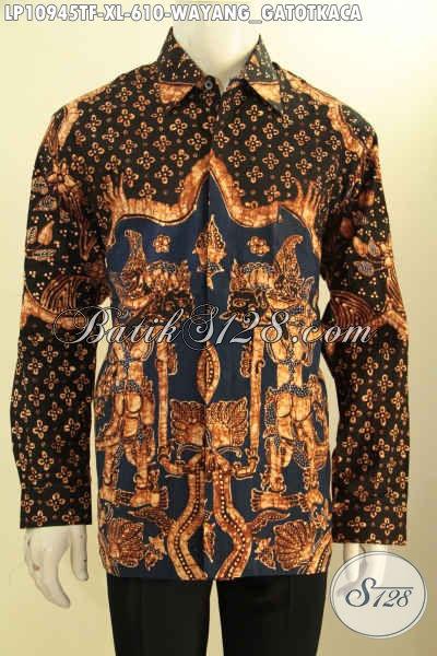 Batik Hem Lengan Panjang Istimewa Motif Wayang Gatotkaca, Busana Batik Premium Solo Lengan Panjang Full Furing Proses Tulis Asli, Pilihan Tepat Untuk Penampilan Yang Sempurna