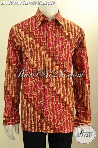 Model Baju Batik Pria Lengan Panjang Mewah Terbaru, Busana Batik Solo Jawa Tengah Asli Motif Parang Klasik Warna Merah Full Furing Proses Tulis Bahan Adem Nyaman Di Pakai Seharian