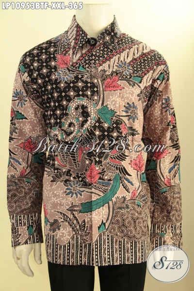 Baju Kemeja Batik Pria Gemuk Model Lengan Panjang Motif Klasik Kekinian, Hem Batik Bagus Full Furing, Cocok Untuk Rapat Dan Acara Resmi Lainnya