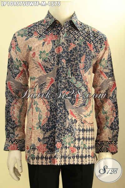 Busana Batik Pria Super Premium, Kemeja Batik Solo Halus Lengan Panjang Bahan Sutra Daleman Full Furing, Baju Batik Motif Klasik, Spesial Untuk Pria Pejabat Dan Eksekutif