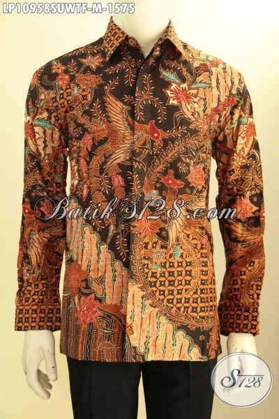 Kemeja Batik Kerja Eksekutif Lengan Panjang Bahan Sutra, Produk Busana Batik Premium Nan Mewah Motif Klasik Tulis Tangan Asli Daleman Pake Furing, Penampilan Lebih Sempurna Dan Berkelas