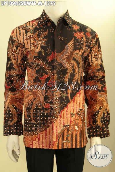 Baju Batik Solo Lengan Panjang Mewah Bahan Sutra, Kemeja Batik Solo Elegan Terkini Daleman Lapisan Furing, Produk Kemeja Batik Premium Tulis Asli Yang Membuat Penampilan Gagah Dan Tampan Maksimal