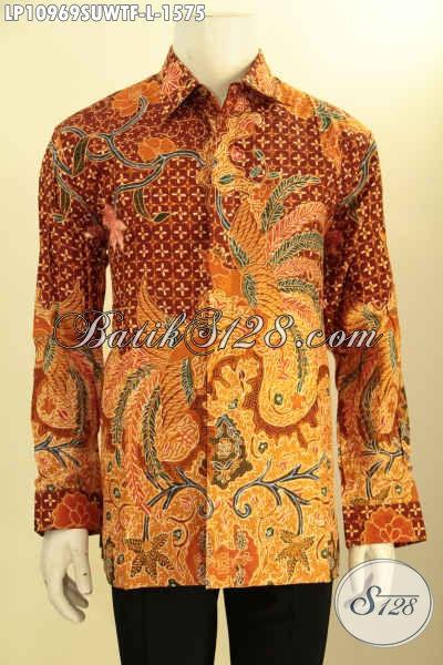 Batik Kemeja Solo Premium, Busana Batik Sutra Mewah Lengan Panjang Daleman Lapisan Furing, Busana Batik Kerja Berkelas Motif Bagus Tulis Asli, Penampilan Lebih Gagah Berwibawa