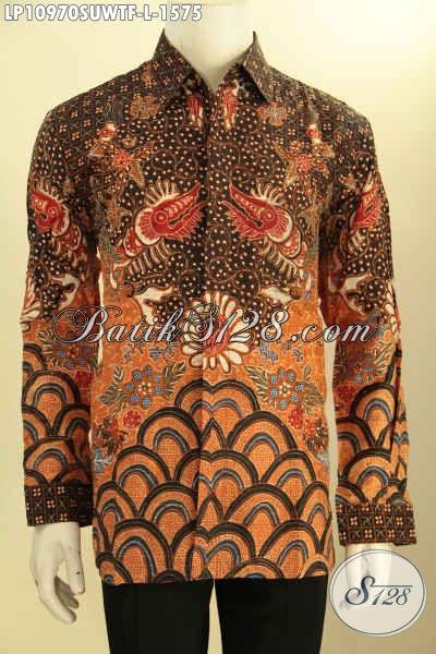 Baju Kemeja Batik Sutra Terbaru Nan Elegan Dan Mewah, Busana Batik Lengan Panjang Full Furing Kesukaan Para Eksekutif Dan Pejabat, Menunjang Penampilan Berkelas Dan Mewah