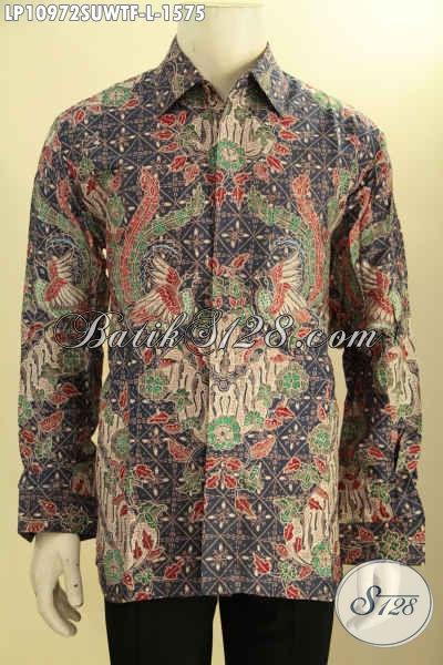 Hem Batik Sutra Bagus Model Lengan Panjang Daleman Di Lengkapi Furing, Pakaian Batik Elegan Mewah Motif Klasik Proses Tulis Asli, Tampil Lebih Gagah Menawan