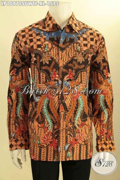 Batik Kemeja Solo Mewah Model Lengan Panjang Halus Daleman Full Furing, Busana Batik Halus Bahan Adem Motif Tulis Asli, Penampilan Sempurna Dan Berkelas