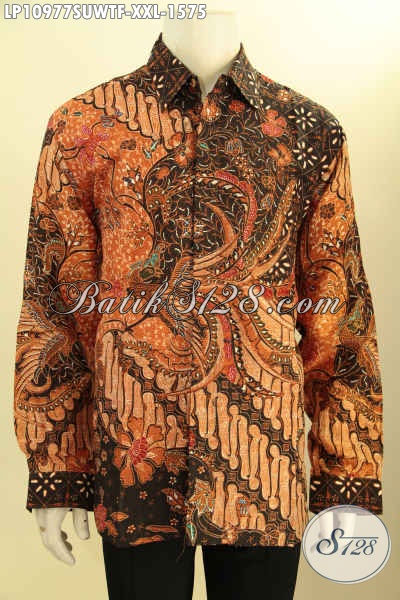 Baju Kemeja Batik Solo Premium Lengan Panjang Bahan Sutra Spesial Untuk Pria Gemuk, Pakaian Batik Tulis Mewah Full Furing Nan Istimewa, Penampilan Gagah Mempesona [LP10977SUWTF-XXL]