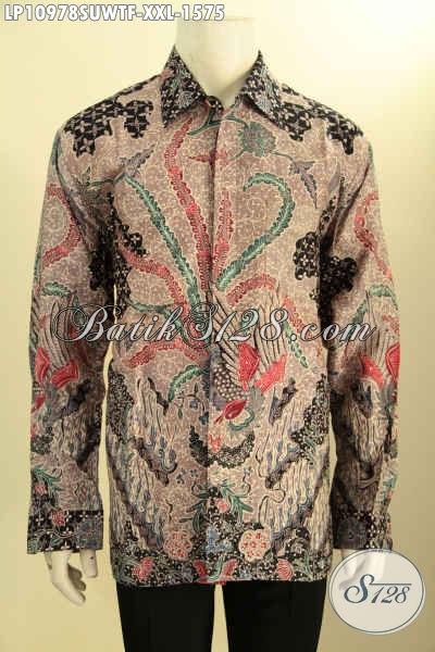 Baju Kemeja Batik Solo Big Size Lengan Panjang Premium, Busana Batik Pria Mewah Bahan Sutra Motif Klasik Proses Tulis Daleman Pakai Furing, Tampil Gagah Mewah Berkelas