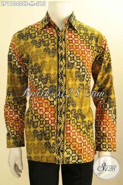 Busana Batik Pria Lengan Panjang Elegan Motif Klasik Bahan Adem Warna Berkelas Proses Cap Tulis, Busana Batik Kekinian Untuk Penampilan Gagah Berwibawa
