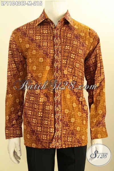Hem Batik Elegan, Kemeja Batik Berkelas, Pakaian Batik Pria Muda Untuk Tampil Berwibawa, Bahan Halus Motif Bagus Proses Cap Tulis Asli Buatan Solo [LP11042CT-M]