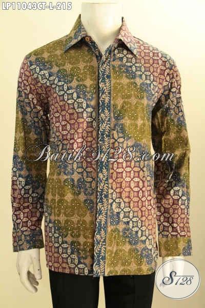 Baju Batik Cowok ELegan, Kemeja Lengan Panjang Solo Halus Motif Klasik Bahan Adem Proses Cap Tulis, Pa Buat Acara Resmi Dan Rapat Tampil Berwibawa
