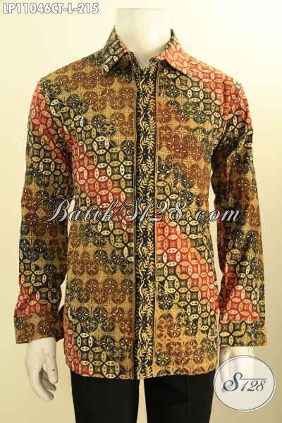 Pakaian Batik Solo Tren Motif Klasik Terkini, Baju Batik Kemeja Lengan Panjang Elegan Bahan Halus Proses Cap Tulis, Bisa Buat Ngantor Atau Ke Kondangan