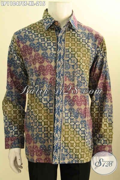 Batik Kemeja Lengan Panjang Warna Gradasi Motif Kawung Klasik, Busana Batik ELegan Bahan Adem, Spesial Untuk Pria Kantoran