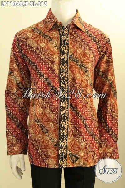 Model Baju Kemeja Lengan Panjang Bahan Batik Solo Proses Cap Tulis, Pakaian Batik Istimewa Untuk Kerja Dan Acara Resmi Motif Klasik Kekinian, Tampil Lebih Menawan [LP11048CT-XL]