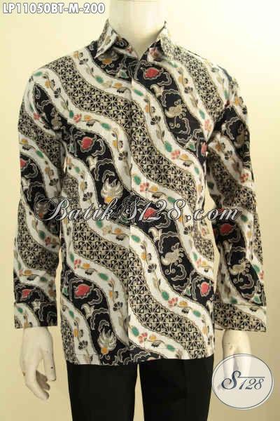 Baju Kemeja Batik Pria Lengan Panjang Motif Klasik, Busana Batik Solo Nan Berkelas Proses Kombinasi Tulis, Cocok Banget Buat Ke Kondangan