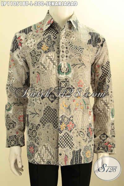 Baju Batik Kantoran Pria Model Lengan Panjang, Hem Batik Motif Klasik Sekarjagad Ukuran L Proses Kombinasi Tulis, Tampil Gagah Berkelas Hanya 200 Ribu Saja