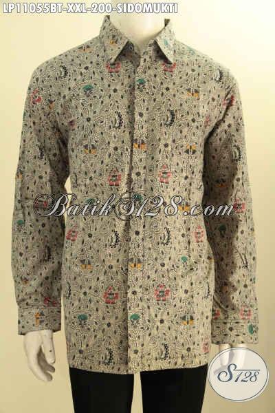 Pakaian Batik Istimewa Model Lengan Panjang Motif Klasik Sekarjagad, Baju  Batik Solo Nan Berkelas Proses Kombinasi Tulis, Exclusive Untuk Pria Gemuk Size XXL
