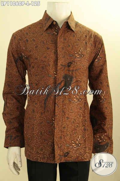 Baju Batik Hem Solo Lengan Panjang Motif Kasik Proses Printing, Pakaian Batik Elegan Bahan Adem Proses Printing Kwalitas Istimewa, Penampilan Lebih Mempesona