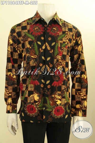 Model Baju Batik Solo Lengan Panjang Istimewa, Busana Batik Kerja Pria Berkelas Motif Bagus Daleman Full Furing, Penampilan Terlihat Mewah