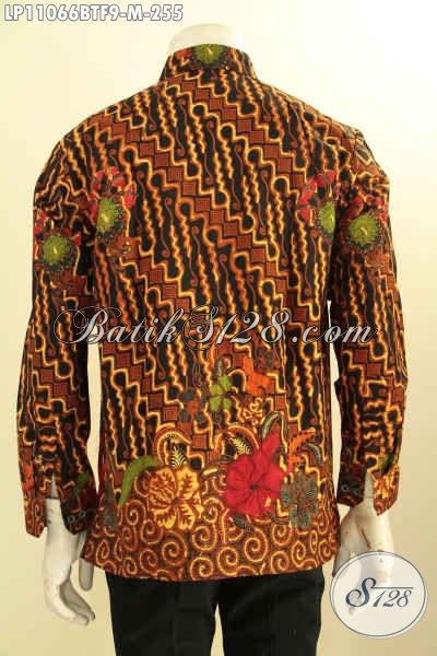 Baju Kemeja Batik Elegan Klasik, Busana Batik Istimewa Full Furing, Pakaian Batik Solo Lengan Panjang Kombinasi Tulis, Tampil Gagah Mempesona