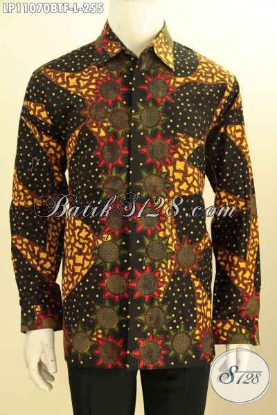 Model Baju Batik Pria Terbaru Lengan Panjang Nan Elegan Dan Berkelas, Kemeja Batik Kerja Berkelas Pakai Furing Motif Kekinian Proses Kombinasi Tulis, Cocok Juga Untuk Acara Resmi [LP11070BTF-L]