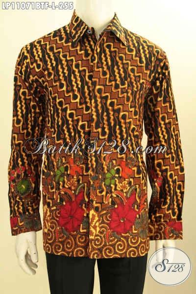 Jual Kemeja Batik Solo Lengan Panjang ELegan Klasik, Pakaian Batik Halus Dan Berkelas Proses Kombinasi Tulis Yang Membuat Penampilan Gagah Dan Mempesona