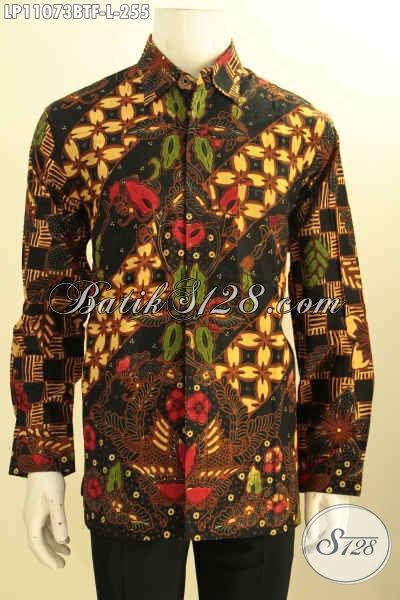 Busana Batik Mewah Lengan Panjang Solo Bahan Adem, Produk Baju Batik Istimewa Untuk Kerja Dan Rapat Daleman Full Furing Motif Klasik Kombinasi Tulis, Pilihan Tepat Tampil Berkelas