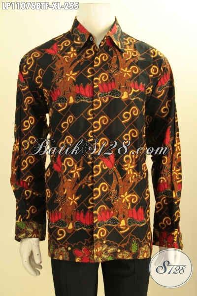 Baju Batik Kemeja Solo Lengan Panjang Full Furing, Pakaian Batik Mewah Halus Bahan Adem Motif Bagus Proses Kombinasi Tulis, Di Jual Online 255K