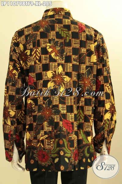 Batik Kemeja Solo Lengan Panjang Mewah, Busana Batik Atasan Cowok Full Furing Motif Berkelas Proses Kombinasi Tulis, Pas Banget Untuk Acara Formal