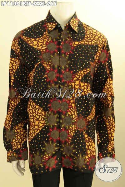 Baju Batik Istimewa Lengan Panjang Ukuran Jumbo, Busana Batik L4 Pakai Furing Motif Terkini Khas Jawa Tengah Proses Kombinasi Tulis, Lelaki Gemuk Terlihat Lebih Menawan