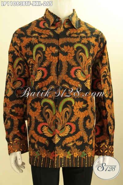 Hem Batik Size XXL, Kemeja Batik Solo Lengan Panjang Pria Gemuk, Busana Batik Formal Full Furing Motif Terbaru Proses Kombinasi Tulis, Bikin Penampilan Gagah Berwibawa