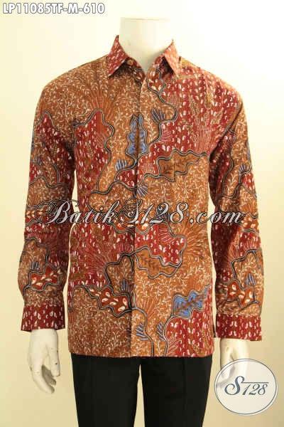 Batik Kemeja Pria Mewah Lengan Panjang, Hem Batik Kerja Premium Full Furing Motif Klasik Tulis Asli, Penampilan Lebih Gagah Dan Sempurna