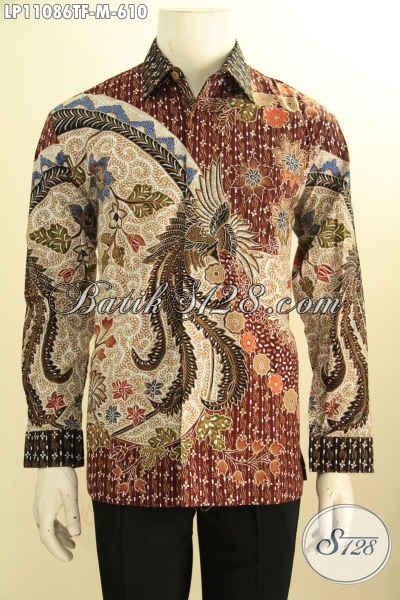 Batik Kemeja Solo Mewah Model Lengan Panjang, Busana Batik Istimewa Full Furing Bahan Adem Motif Klasik, Cocok Untuk Kerja Dan Acara Formal