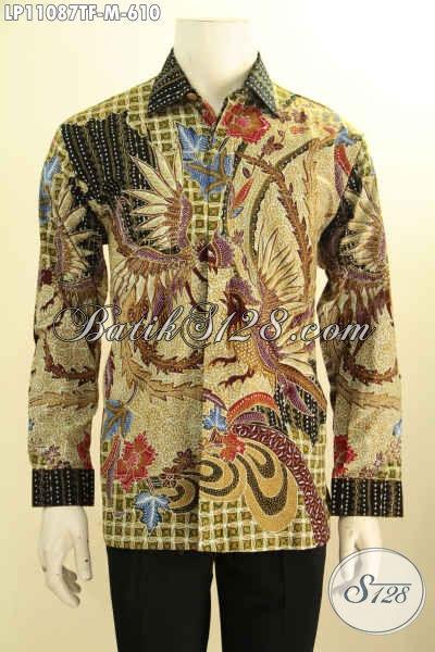 Baju Batik Premium Untuk Kerja Kantoran Pria Sukses, Hem Batik Elegan  Model Lengan Panjang Pakai Furing Motif Tulis Asli, Penampilan Terlihat Tampan Dan Berkelas