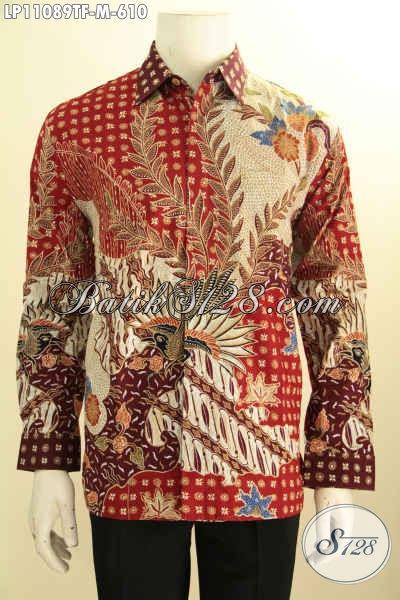 Batik Kemeja Premium Pria Muda, Busana Batik Mewah Lengan Panjang Full Furing, Busana Batik Lelaki Sukses Motif Tulis Asli, Penampilan Lebih Gagah Berwibawa