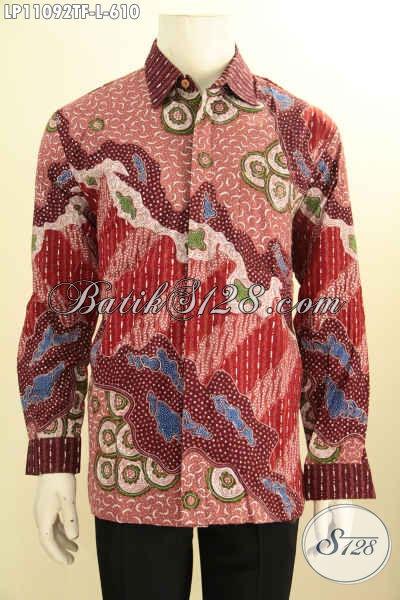 Produk Kemeja Batik Pria Lengan Panjang Istimewa, Busana Batik Solo Full Furing Bahan Adem Motif Bagus Warna Merah, Penampilan Terlihat Tampan Dan Mempesona