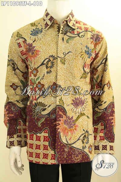 Busana Batik Solo Premium Lengan Panjang, Pakaian Batik Halus Bahan Adem Daeman Full Furing, Baju Batik Istimewa Untuk Pria Tampil  Gagah Berwibawa Bak Pejabat