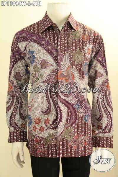 Baju Kemeja Batik Lengan Panjang Premium Khas Jawa Tengah, Busana Batik Elegan Motif Klasik Tulis Asli Daleman Di Lengkapi Furing, Penampilan Terlihat Gagah Dan Berwibawa