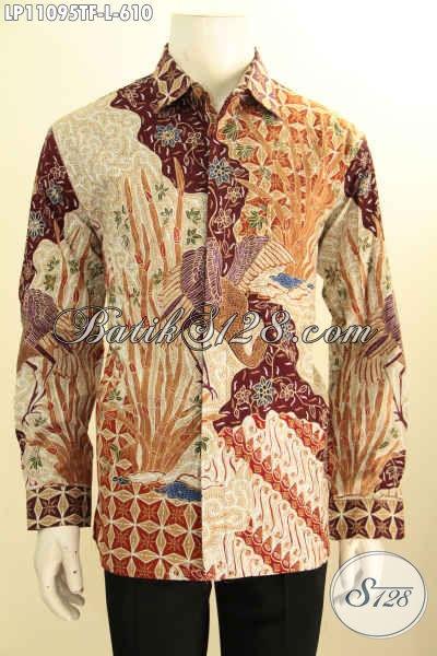 Baju Batik Kerja Pria Lengan Panjang Nan Mewah, Pakaian Batik Solo Berkelas Daleman Full Furing Berkelas, Baju Batik Tulis Istimewa Penampilan Terlihat Sempurna