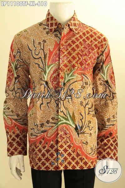 Koleksi Baju Batik Mewah Untuk Pejabat Dan Eksekutif, Busana Batik Solo Lengan Panjang Full Furing Bahan Adem Motif Bagus Tulis Asli, Pria Dewasa Terlihat Gagah Berkelas