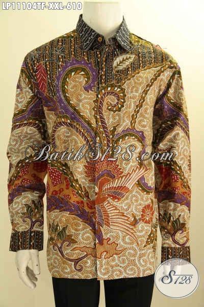 Kemeja Batik Tulis Nan Mewah, Busana Batik Lengan Panjang Full Furing Premium, Pakaian Batik Solo Istimewa Motif Bagus Tulis Asli, Pria Gemuk Tampil Gagah Menawan