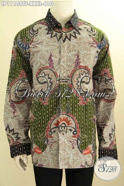 Model Baju Batik Pria Gemuk Lengan Panjang Mewah Full Furing, Pakaian Batik Tulis Asli Motif Kekinian Nan Elegan, Bikin Penampilan Terlihat Gagah Dan Berwibawa
