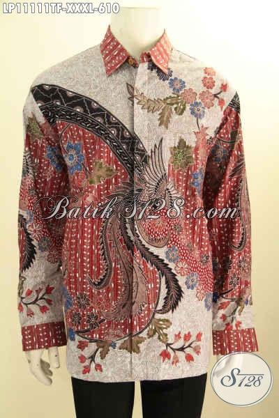 Pakaian Batik Mewah Lengan Panjang Spesial Buat Lelaki Gemuk, Baju Batik Mewah Full Furing Lengan Panjang Bahan Adem Motif Bagus Tulis Asli, Pas Untuk Acara Formal
