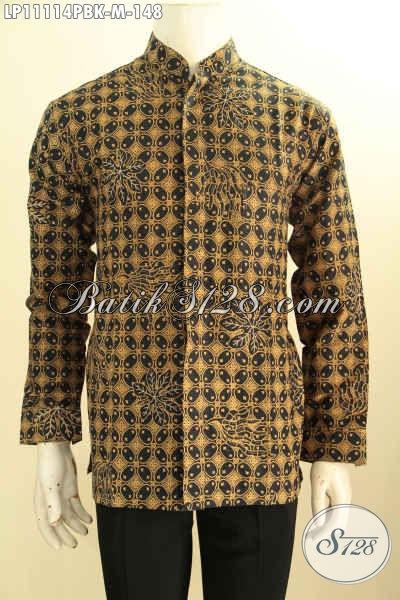 Hem Batik Kerah Shanghai Elegan Motif Klasik, Kemeja Batik Koko Lengan Panjang Non Furing Bahan Adem Untuk Penampilan Nan Berkelas [LP11114PBK-M]