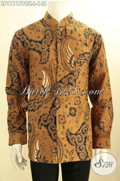 Hem Batik ELegan Motif Klasik Lengan Pajang Model Koko Kerah Shanghai, Kemeja Batik Halus Proses Printing Buatan Solo Asli, Untuk Acara Resmi Dan Santai Hanya 100 Ribuan