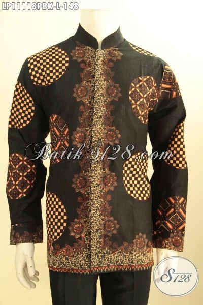 Pakaian Batik Modern Lengan Panjang Model Koko Kerah Shanghai, Busana Batik Solo Asli Kwalitas Istimewa, PAs Buat Ngantor Dan Acara Resmi