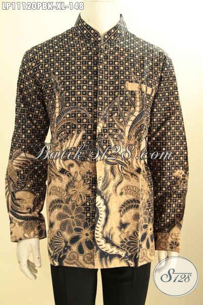 Busana Batik Lengan Panjang Model Koko Kerah Shanghai, Kemeja Batik Halus Motif Klasik Bahan Adem, Pas Untuk Kerja Dan Kondangan
