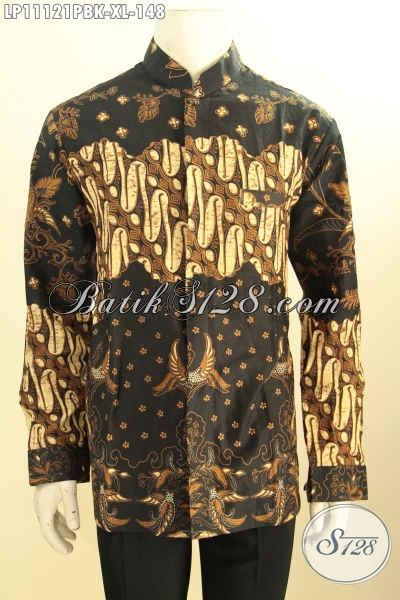 Pakaian Batik Halus Elegan Lengan Panjang Model Kerah Shanghai, Baju Batik Koko Buatan Solo Bahan Adem Motif Klasik Printing Cabut, Spesial Untuk Lelaki Dewasa