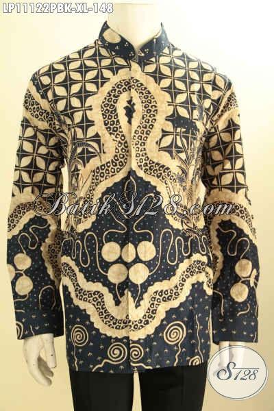 Batik Kemeja Solo Lengan Panjang Halus Motif Bagus Proses Printing, Busana Batik Koko Kerah Shanghai Nan Mewah Bahan Adem Nyaman Di Pakai Kerja Dan Kondangan
